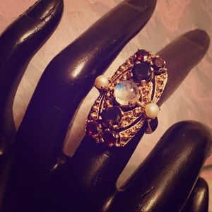 Nicky Butler Moonstone Garnet Smoky Topaz Ring